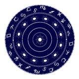 Ornamento com elementos do zodíaco Fotografia de Stock