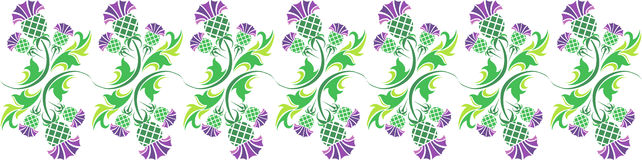 Ornamento con i fiori del cardo selvatico Immagine Stock