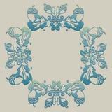 Ornamento con la bellota, naturaleza, marco stock de ilustración