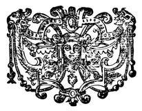 Ornamento con la cara y los leones Stock de ilustración