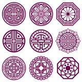 Ornamento coreano, símbolos tradicionales asiáticos del vector, modelo del cuarto de baño stock de ilustración