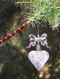 Ornamento cristalino de la Navidad del corazón Foto de archivo