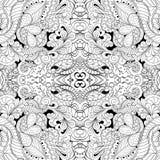 Ornamento curvado mehndi del Tracery Adorno étnico, textura armoniosa binaria monocromática del garabato Rebecca 36 Vector Fotos de archivo libres de regalías