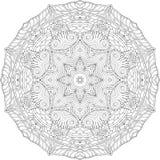 Ornamento curvado mehndi do Tracery Motivo étnico, textura harmoniosa binária monocromática da garatuja Rebecca 36 Vetor imagens de stock