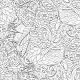 Ornamento curvado mehndi do Tracery Motivo étnico, textura harmoniosa binária monocromática da garatuja Rebecca 36 Vetor Foto de Stock