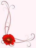 Ornamento d'angolo con il fiore rosso Fotografia Stock
