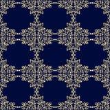 Ornamento d'annata blu con gli elementi floreali Fotografia Stock Libera da Diritti