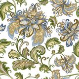 Ornamento d'annata con i fiori decorativi su un fondo bianco Fotografie Stock Libere da Diritti