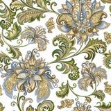 Ornamento d'annata con i fiori decorativi su un fondo bianco Fotografia Stock