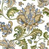 Ornamento d'annata con i fiori decorativi su un fondo bianco Fotografie Stock