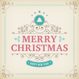 Ornamento d'annata di Buon Natale su fondo di carta Fotografie Stock Libere da Diritti