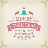 Ornamento d'annata di Buon Natale su fondo di carta Immagini Stock