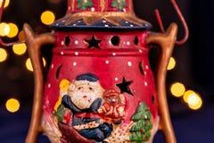 Ornamento d'annata di Natale con Santa Fotografie Stock