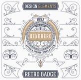 Ornamento d'annata e retro distintivo Elementi di disegno Fotografie Stock