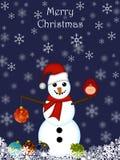 Ornamento d'attaccatura del pupazzo di neve di natale Fotografia Stock Libera da Diritti