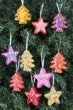 Ornamento da árvore de Natal - árvores e estrelas Foto de Stock