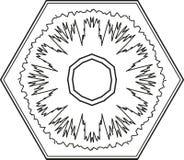 Ornamento da circular do floco de neve do hexágono do esboço Vetor Imagem de Stock