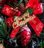 Ornamento da curva do Natal Fotos de Stock
