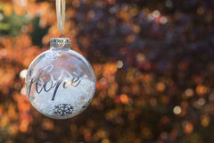 Ornamento da decoração do Natal com a esperança da palavra imagem de stock