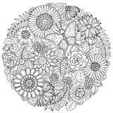 Ornamento da flor da garatuja do verão do círculo com borboleta Imagens de Stock Royalty Free