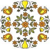 Ornamento da flor e do pássaro Imagens de Stock Royalty Free