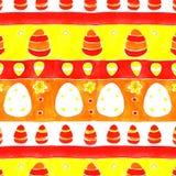 Ornamento da mola dos ovos da páscoa da aquarela Imagens de Stock Royalty Free