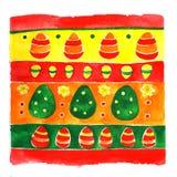 Ornamento da mola dos ovos da páscoa da aquarela Foto de Stock Royalty Free