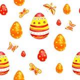 Ornamento da mola dos ovos da páscoa da aquarela Imagem de Stock
