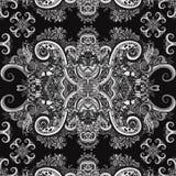 Ornamento de Boho, textura monocromático Ornamento preto e branco étnico Teste padrão sem emenda natural da planta floral abstrat Fotografia de Stock