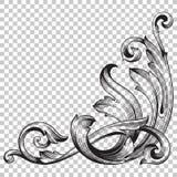 Ornamento de canto do isolado no estilo barroco Fotografia de Stock