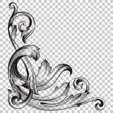 Ornamento de canto do isolado no estilo barroco Imagens de Stock