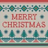 Ornamento de Christmass del vector en la textura hecha punto Fotos de archivo libres de regalías