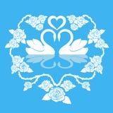 Ornamento de dos cisnes Ilustración del vector libre illustration