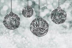 Ornamento de la bola del árbol de navidad, Gray Sparkling Background imagen de archivo libre de regalías