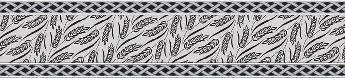 Ornamento de la cinta del tema del trigo Foto de archivo