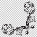Ornamento de la esquina del aislante en estilo barroco Fotografía de archivo