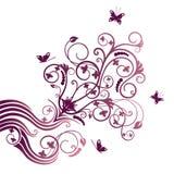 Ornamento de la esquina púrpura de la flor y de la mariposa Imagen de archivo libre de regalías