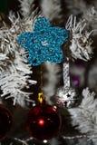 Ornamento de la estrella del ganchillo de la Navidad Imagenes de archivo