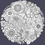 Ornamento de la flor del garabato del verano del círculo con la mariposa Imágenes de archivo libres de regalías