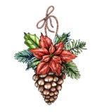 Ornamento de la Navidad de la acuarela, ejemplo adornado del cono del pino, ilustración del vector