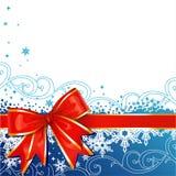 Ornamento de la Navidad del vector con el arqueamiento y los copos de nieve ilustración del vector