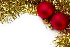 Ornamento de la Navidad y guirnalda del oro Imagenes de archivo
