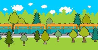 ornamento de la pista ferroviaria Modelo del coche de tren Fondo del ferrocarril stock de ilustración