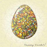 Ornamento de la pluma de la tarjeta de felicitación del huevo de Pascua Fotografía de archivo