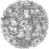 Ornamento de las bolas de la Navidad del círculo stock de ilustración