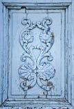 Ornamento de madeira azul imagens de stock