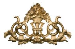 Ornamento de madera de oro Foto de archivo libre de regalías