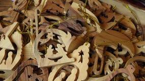 Ornamento de madera del árbol de navidad de la escena de la natividad Imagen de archivo