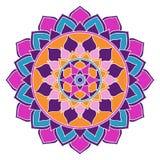 Ornamento de Mandala Boho Chic Pink, azul y púrpura, oriental stock de ilustración