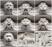 Ornamento de Mascaron y león veneciano; Bérgamo foto de archivo libre de regalías